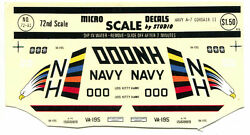 Micro Scale Decals Navy A-7 Corsair Ii Scale 1/72 No. 72-81 With Directions New