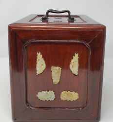 Chinese Republic Carved Jade Inlaid Rosewood Hidden Compartment Jewelry Box Rare
