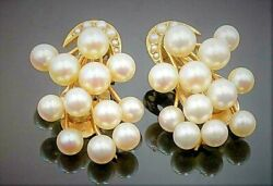 Women's 14ct Gold Seed Pearl Engagement Wedding Clip On Earrings Vintage