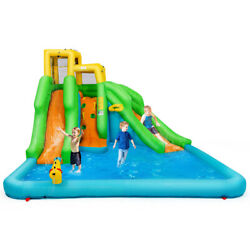 Inflatable Water Park Bounce House W/climbing Wall Two Slides And Splash Pool