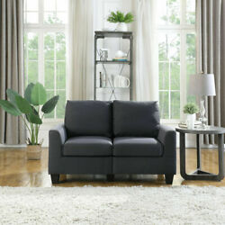 2-seat 55 Loveseat Accent Upholstered Fabric Couch With Arm Soft Sofa Chair Us
