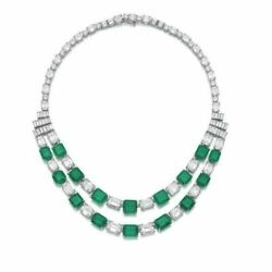 Stunning Green White Emerald 925 Sterling Silver Layer Handmade Necklace