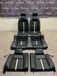 2014 Ford Mustang Gt Oem Black Leather W/ White Stripe Front Rear Seats