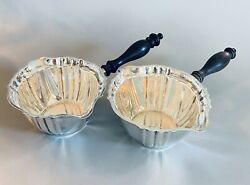 Set Of Two Antique Gorham Chippendale Sterling Silver Pipkin Brandy Warmer