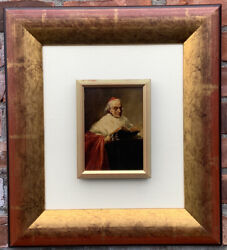Italian Artist Lucius Rossi Oil Painting Of A Cardinal In Study. Signed. C1900