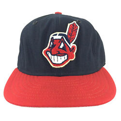 Vtg Cleveland Indians New Era Pro Model Cap Usa Chief Wahoo Hat Fitted Sz 7 3/8
