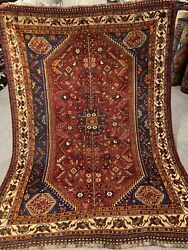 5x7 Ft Auth Very Rare Finest 100 Marino Wool Antique Kashghai Tribal Rug Rugs