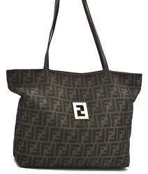Authentic FENDI Zucca Shoulder Tote Bag Canvas Leather Brown B2009 $331.80
