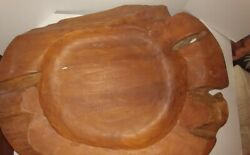 Carved Wooden Large Bowl Primitive Tray Rustic Home Decor Fruit--