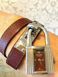 Hermes Kelly Ladies Quartz Wristwatch With Double Loop Hermes Red Leather Band