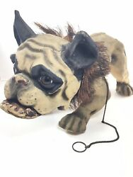 Beautiful 1890's French Bull Dog Growler Nodder Paper Mache Pull Toy