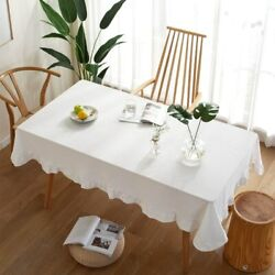 Ruffle Table Cover Linen White Color Tablecloth For Christmas Parties Home Decor