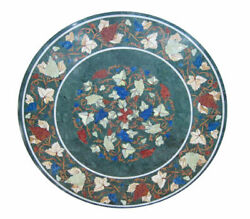 4and039x4and039 Green Marble Top Dining Table Pietra Dure Mosaic Inlay Grapes Art Decor