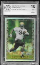 1999 Topps Chrome Refractor Ricky Williams Saints Rookie Bccg 10