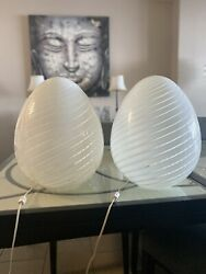 70's Pair Of Murano Glass Egg Lamps - Mint