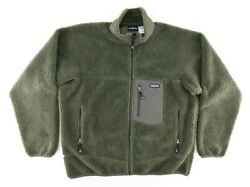 Vintage Retro X Deep Pile Fleece Jacket Mens Xl Green Made In Canada