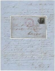 1869 Folded Letter To Great Britain W 12-cent E-grill W Phil Found Certificate
