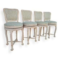 Set Of Four Italian Carved Wood Rope And Knot Swivel Counter Height Bar Stools
