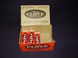 5 Vintage Packs Of Adams Clove Chewing Gum Candy Wwii Ww2 + Display Box Pack Wow