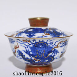 China Antique Qing Dynasty Blue And White Alum Red Dragon Pattern Cover Bowl
