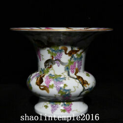 China Antique The Qing Dynasty Pastel Squirrel Grapevine Slag Hopper