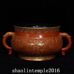 China Antique The Qing Dynasty Qianlong Lacquer Red Gilding Double Ear Furnace