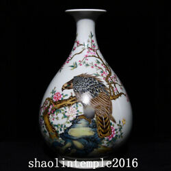 Old China Antique Qing Dynasty Pastel Flower And Bird Pattern Bottle