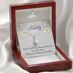 Aunt Gift Thank You Auntie Eternity Ribbon Stone Pendant 14k White Gold Stainles