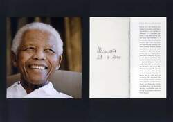 President Of South Africa Nelson Mandela Autograph Signed Brochure Mounted