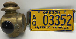 """Vintage Brass """"model T""""tail Light-license Plate Light And Neverout Bracket W/plate"""