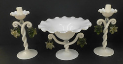 Early Venetian Murano 3 Piece Early Salviati Console Set Candles Centerpiece