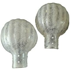 Rare Large Pair Of Barovier Clam Shell Sconce Lamp Glass Shades Murano 1950s