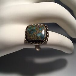 Old Pawn Sterling Silver Native American High Grade Lander Blue Turquoise Ring