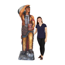 Tobacco Indian Cigar Store With Red Cape Statue Life Size 6.5 Ft
