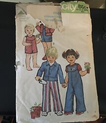 Vtg 70and039s Simplicity Childs Overalls Long And Shorts With Jacket Sewing Pattern