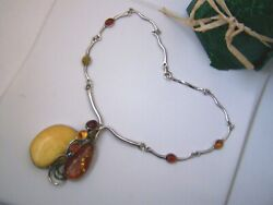 Solid Sterling Silver Honey Butterscotch Green Red Amber Pendant 15 Necklace
