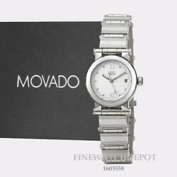 Authentic Movado Vizio Womenand039s White Dial Stainless Steel Watch 1603558