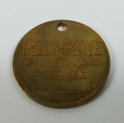 Rare Rolls Royce Of America Key Fob Blank Chassis Number Antique 20s Era Scarce
