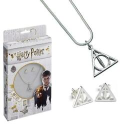 Harry Potter Silver Plated Deathly Hallows Necklace And Earrings Set