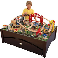 Metropolis Wooden Train Set And Table - Ship From Us