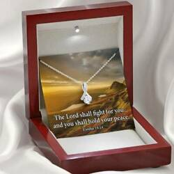The Lord Shall Fight For You Inspirational Message Eternity Ribbon Stone Pendant