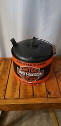 Antique Old Hand Painted Harley Davidson Metal Gas Oill Can Nice Man Cave Decor