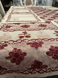 Aghabani Handmade Embroidered Tablecloth Gold Rose Red With 8 Napkins Size 8061