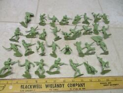 Marx 1960and039s Vtg 54mm Wwii Japanese Infantry Playset Plastic Army Men L Green 1