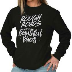 Rough Roads Keep Going Country Cute Gift Long Sleeve T Shirt Tees For Women