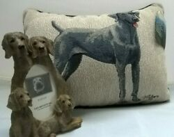 Weimaraner Picture Frame And Accent Pillow,3.5x5 Frame,17x12 Pillow