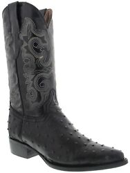 Mens Western Cowboy Boots Black Ostrich Quill Print Leather Point J Toe