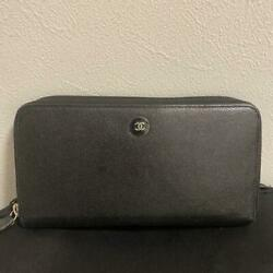 Coco Mark Button Round Black Vintage Wallet M22293187202 From Japan