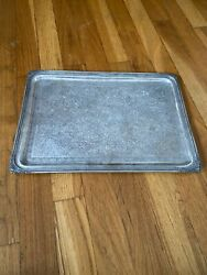 Vintage Sterling Silver Rectangle Floral Serving Tray 14andrdquo X 10andrdquo Inches