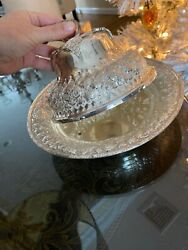Vintage Stirling Silver Plate Covered Round Serving Dish